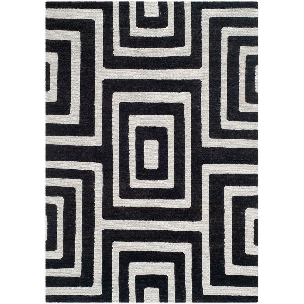 Santa Fe Silver/Black 4 ft. x 6 ft. Area Rug