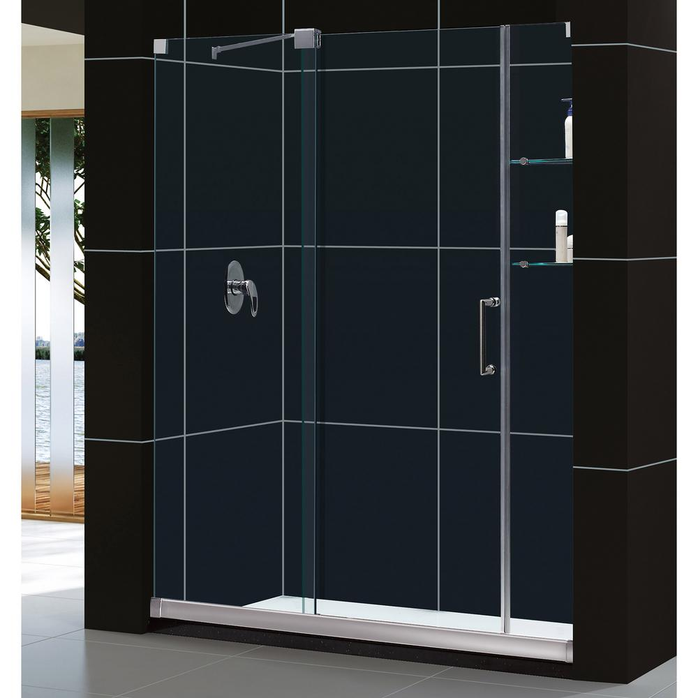 DreamLine Mirage 34 in. x 60 in. x 74.75 in. Semi-Framed Sliding Shower Door in Brushed Nickel with Left Drain White Acrylic Base