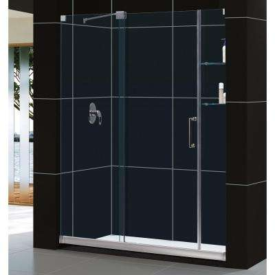 Mirage 34 in. x 60 in. x 74.75 in. Semi-Framed Sliding Shower Door in Chrome with Right Drain White Acrylic Base