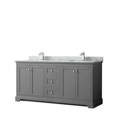 Avery 72 in. W x 22 in. D Bathroom Vanity in Dark Gray with Marble Vanity Top in White Carrara with White Basins