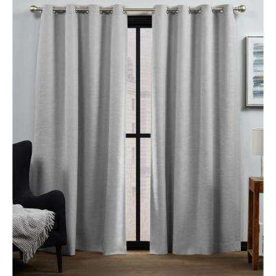 Bensen Silver Blackout Grommet Top Curtain Panel 52 in. W x 96 in. L (2 Panels)
