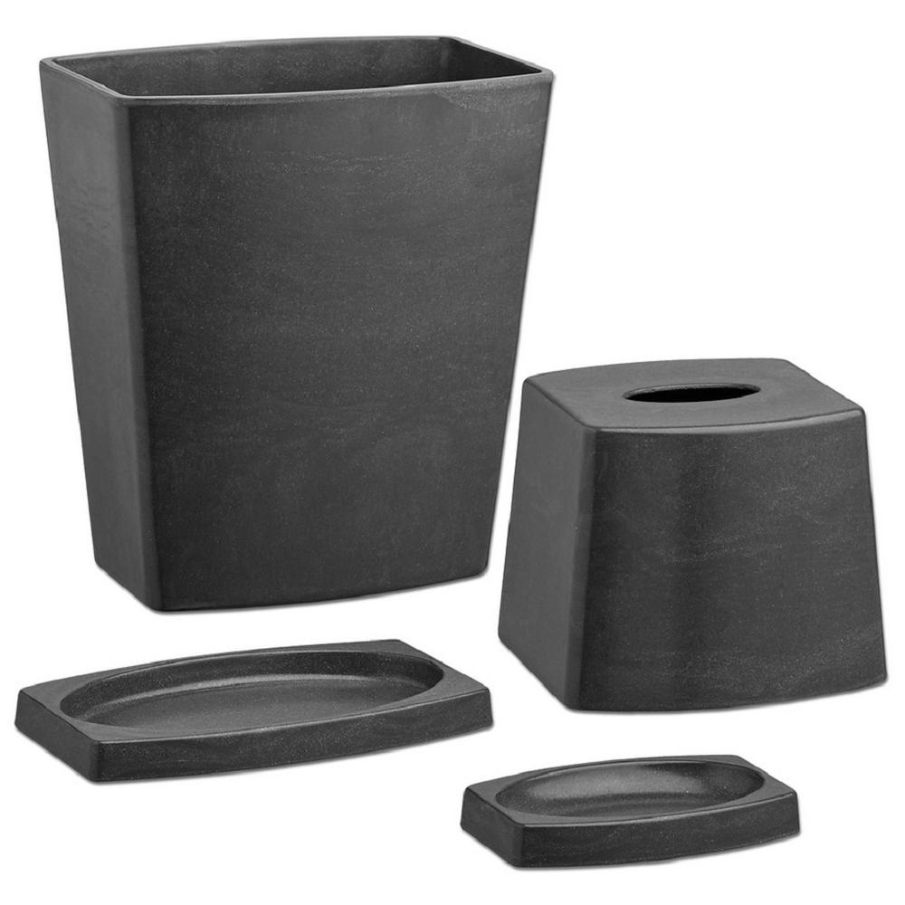Kraftware my earth 4 piece bath accessory set in ash 20504 the home depot for Home depot bathroom accessories