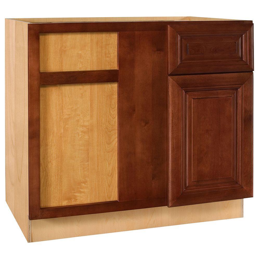 Home Decorators Collection Lyndhurst Assembled 36x34.5x24 in. Single Door & Drawer Hinge Left Base Kitchen Blind Corner Cabinet in Cabernet
