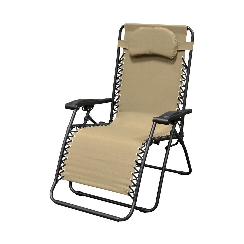 Genial Caravan Sports Infinity Oversized Beige Metal Zero Gravity Patio Chair