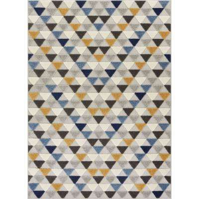 Dorado Dream 5 ft. 3 in. x 7 ft. 3 in. Modern Geometric Mosaic Triangle Blue High-Low Indoor/Outdoor Area Rug