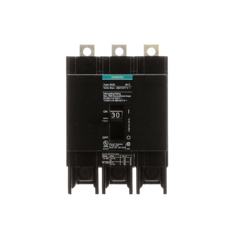 siemens 30 amp triple pole type bqd bolt on circuit breaker bqd330 the home depot. Black Bedroom Furniture Sets. Home Design Ideas