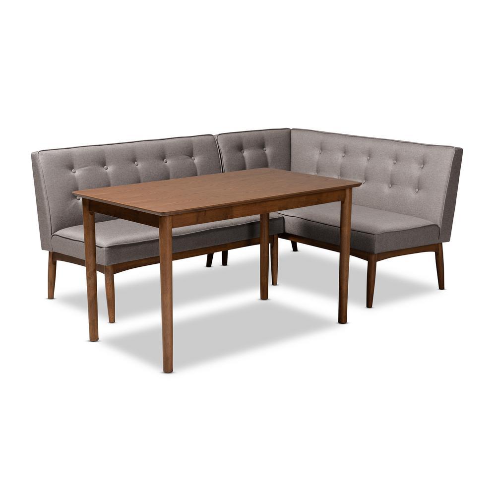 Fantastic Baxton Studio Arvid 3 Piece Gray Dining Nook Set 155 Ibusinesslaw Wood Chair Design Ideas Ibusinesslaworg