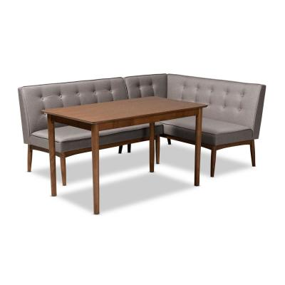 Arvid 3-Piece Gray Dining Nook Set