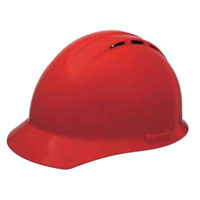 Vent 4 Point Nylon Suspension Slide-Lock Cap Hard Hat in Red