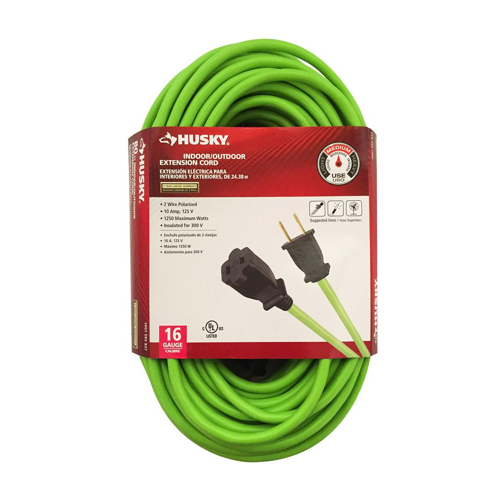 Husky 25 ft. 16/2 Indoor/Outdoor Extension Cord, Green-53025HY - The ...
