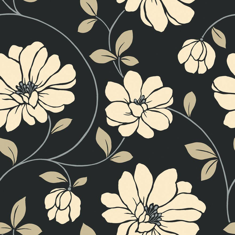 The Wallpaper Company 56 sq. ft. Beige and Black Large Scale Dramatic Floral Wallpaper