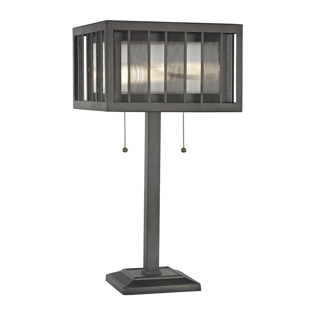 Soraya 2-Light Bronze Table Lamp with Bronze and Clear Reeded Glass