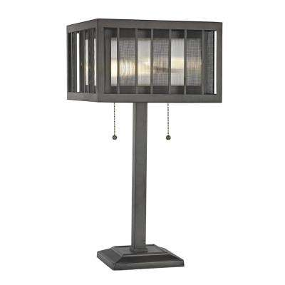 Soraya 2-Light Bronze Table Lamp with Bronze and Clear Reeded Glass and Steel Shade