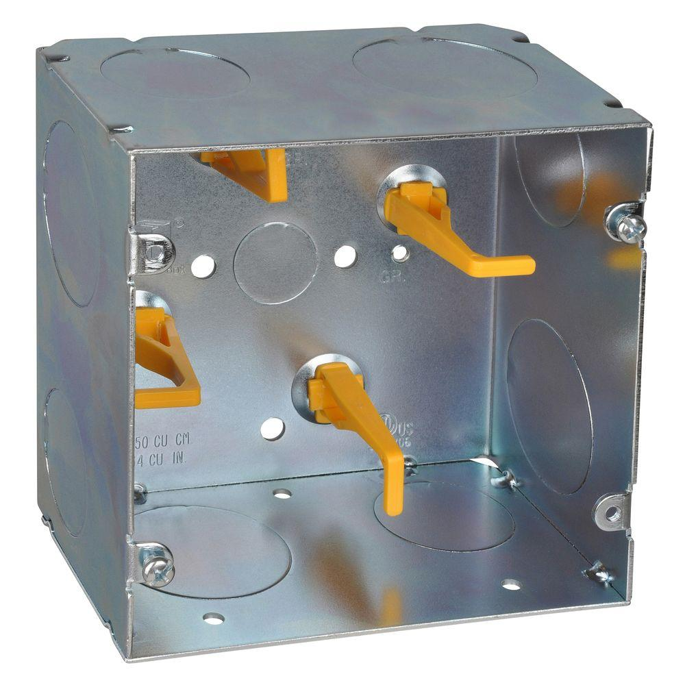 Steel City 2-Gang 5 in. New Work Metal Square Electrical Box with Cable Management Posts and Knockouts (20 per Case)