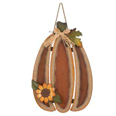 22.13 in. H Burlap/Wooden Pumpkin Wall Decor