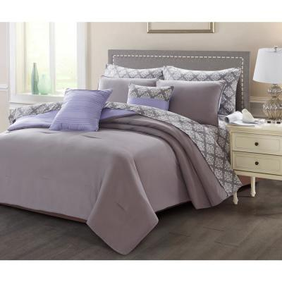 9-Piece Charcoal/Purple Queen Bed in a Bag Set