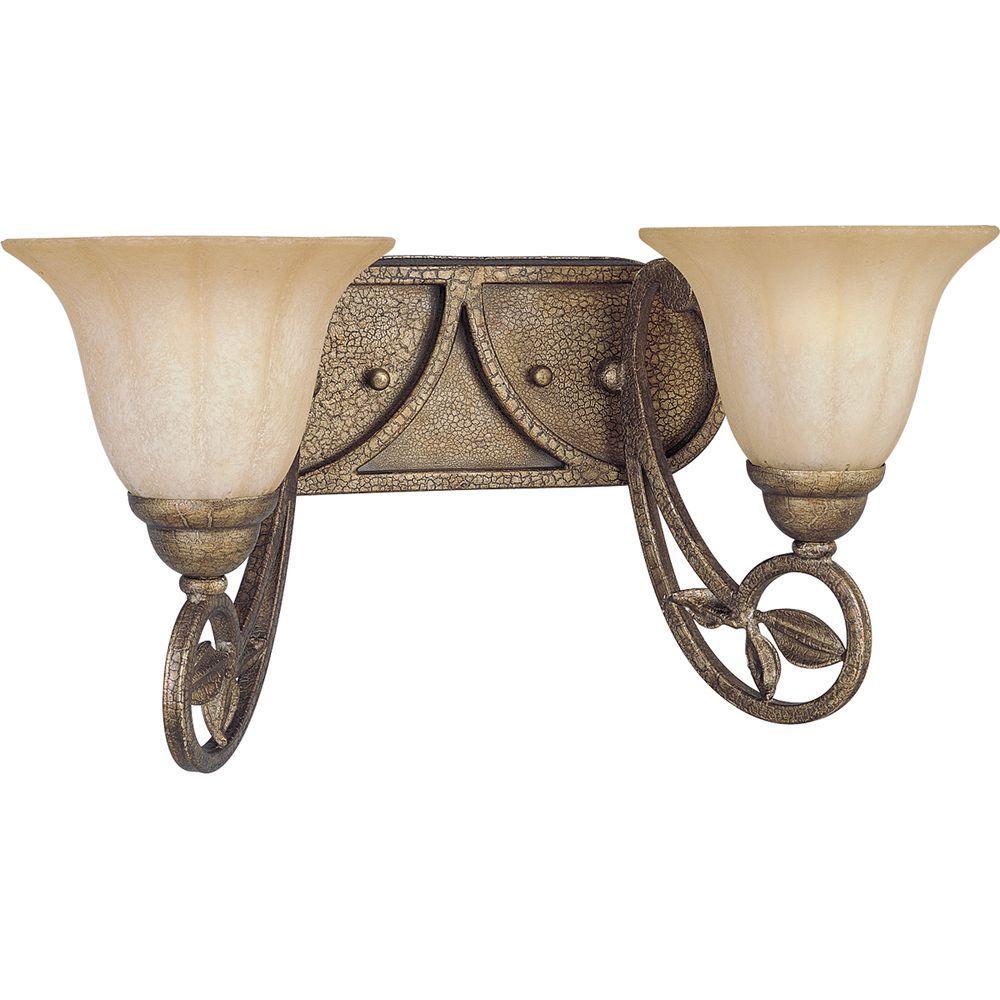 Progress Lighting Le Jardin Collection 2-Light Biscay Crackle Vanity Fixture