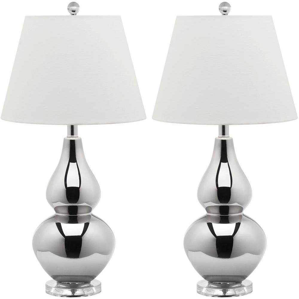 Safavieh Cybil 26.5 in. Silver Double Gourd Glass Lamp (Set of 2)