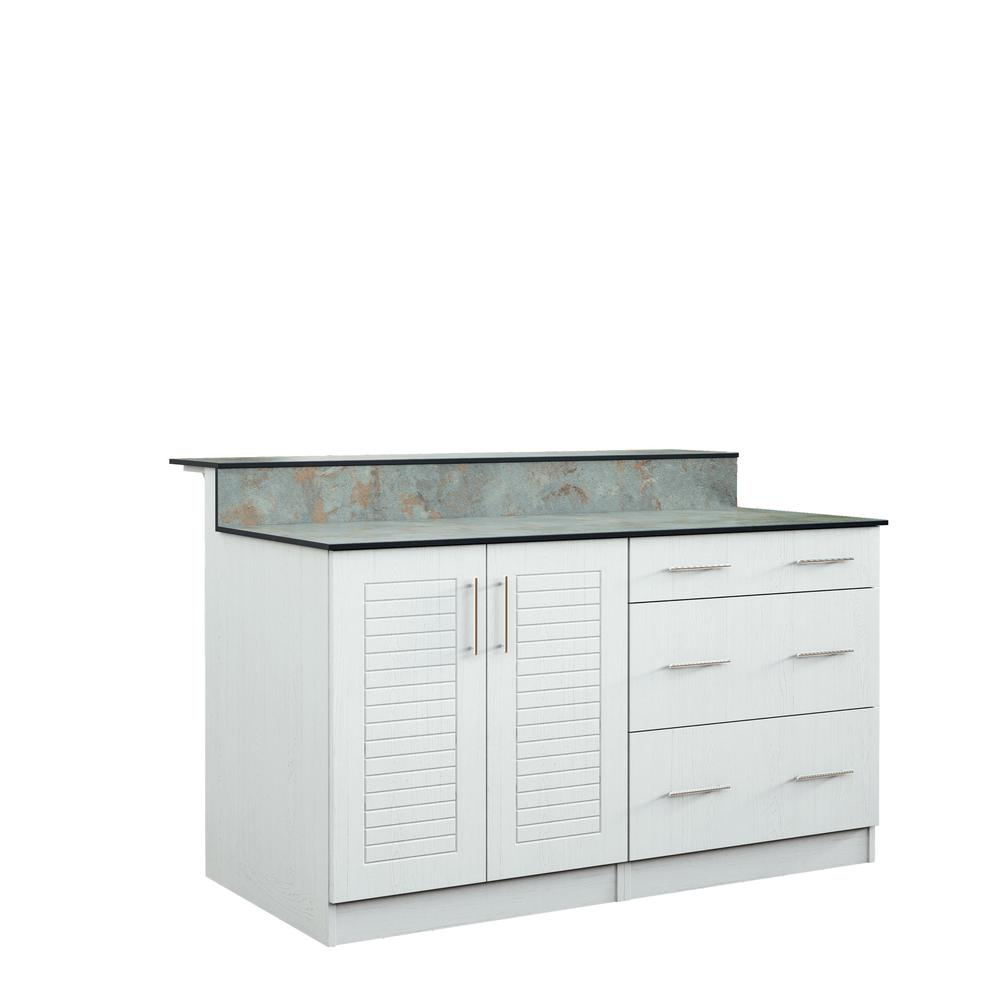 WeatherStrong Key West 59.5 In. Outdoor Bar Cabinets With Countertop 2 Full  Height Doors And