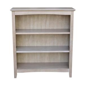 36 in. Weathered Gray Taupe Wood 3-shelf Standard Bookcase with Adjustable Shelves
