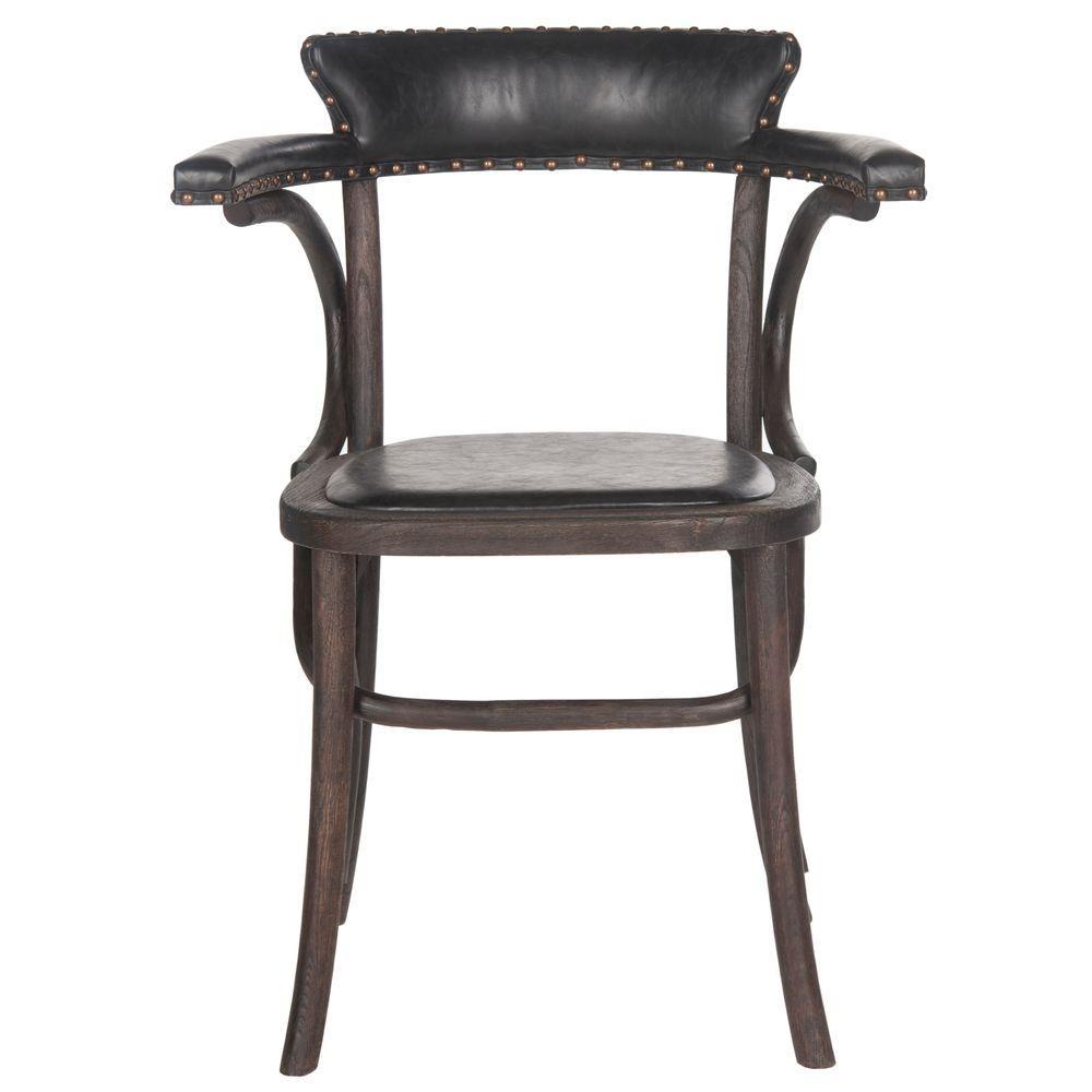 Kenny Antique Black/Dark Umber Bicast Leather Arm Chair