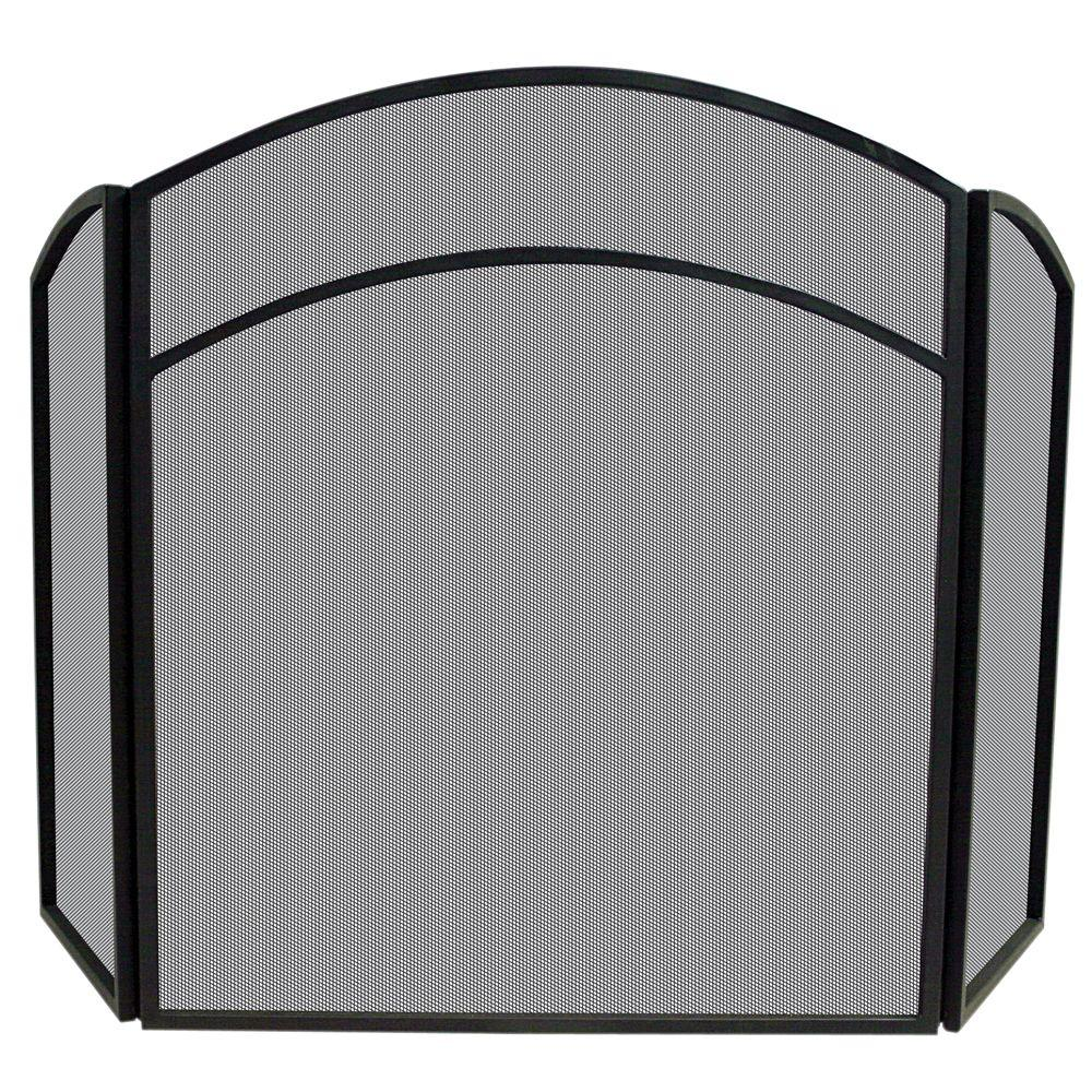 Arch Top Black Wrought Iron 3-Panel Fireplace Screen