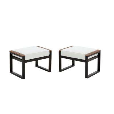 West Park Black Aluminum Outdoor Patio Ottoman with Standard White Cushion (2-Pack)