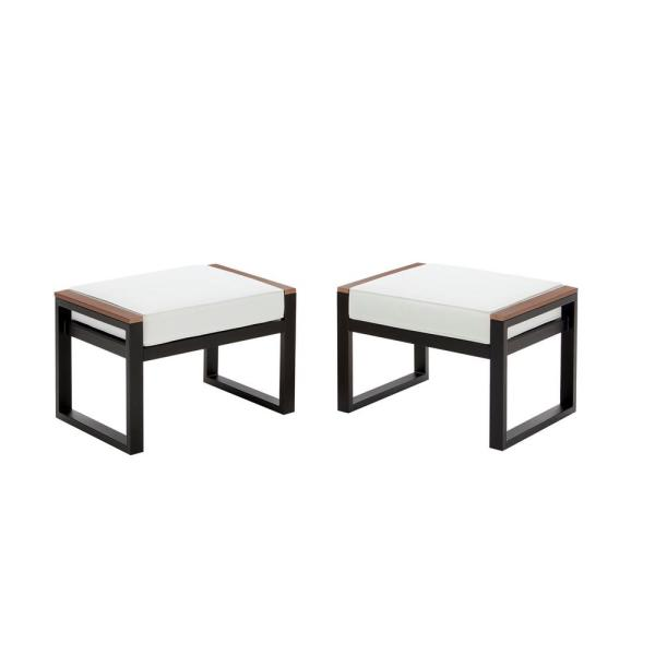 West Park Black Aluminum Outdoor Patio Ottoman with CushionGuard White Cushion (2-Pack)