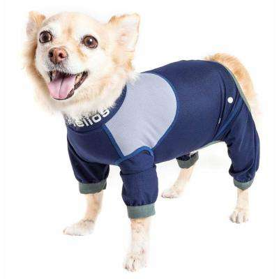 Small Blue Tail Runner Lightweight Full Body Performance Dog Track Suit