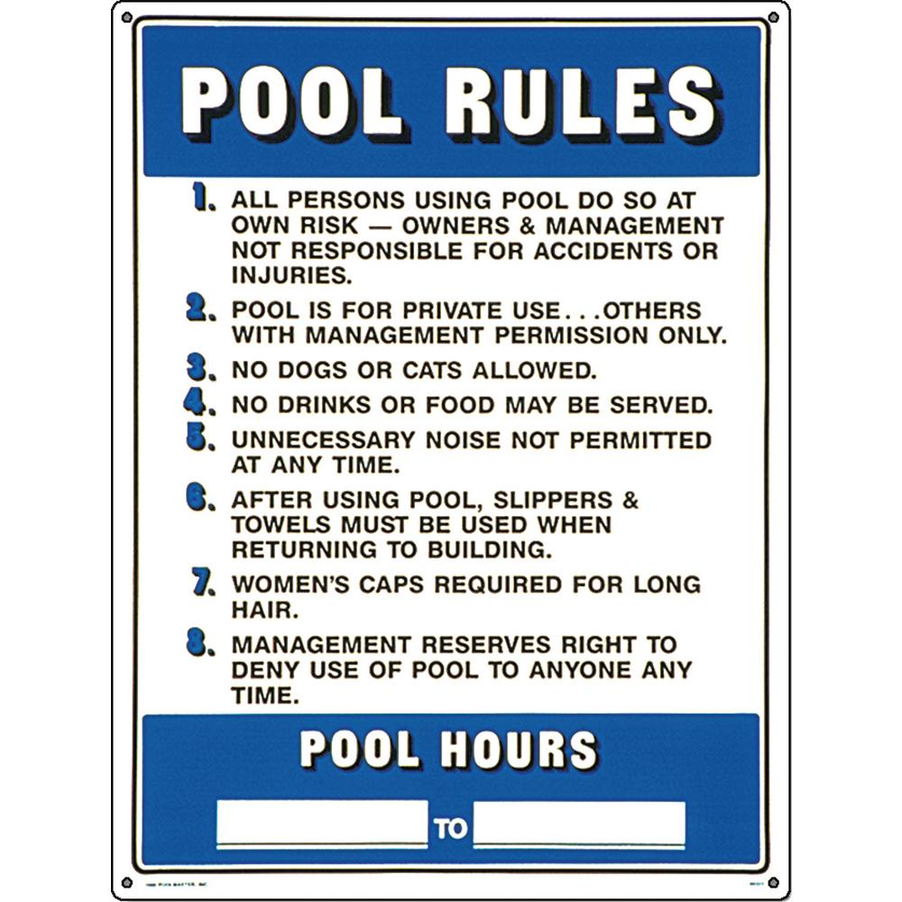 Poolmaster Residential or Commercial Swimming Pool Signs, Commercial Pool  Rules