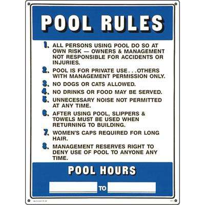 Residential or Commercial Swimming Pool Signs, Commercial Pool Rules