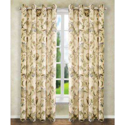 Brissac 50 in. W x 84 in. L Polyester Floral Lined Grommet Panel in Linen