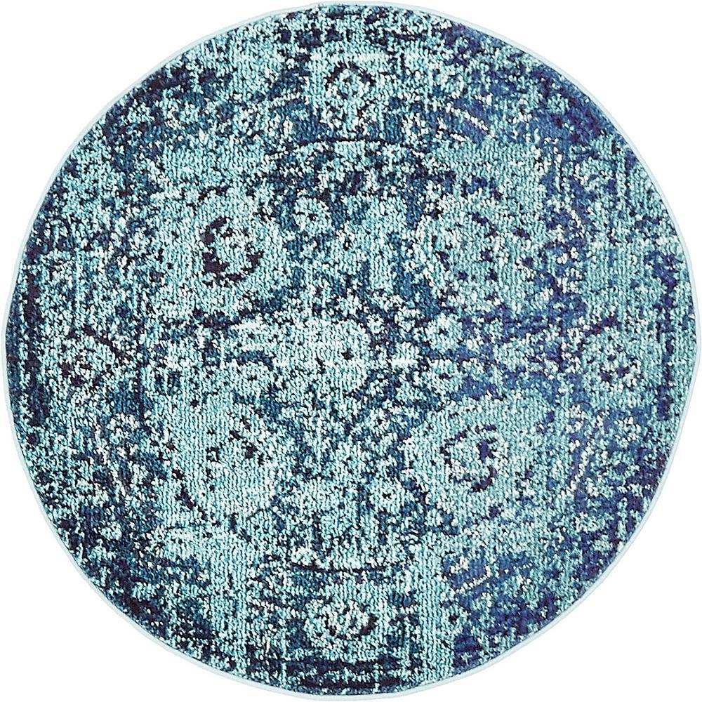 Unique Loom Medici Salamanca Turquoise 3' 3 x 3' 3 Round Rug
