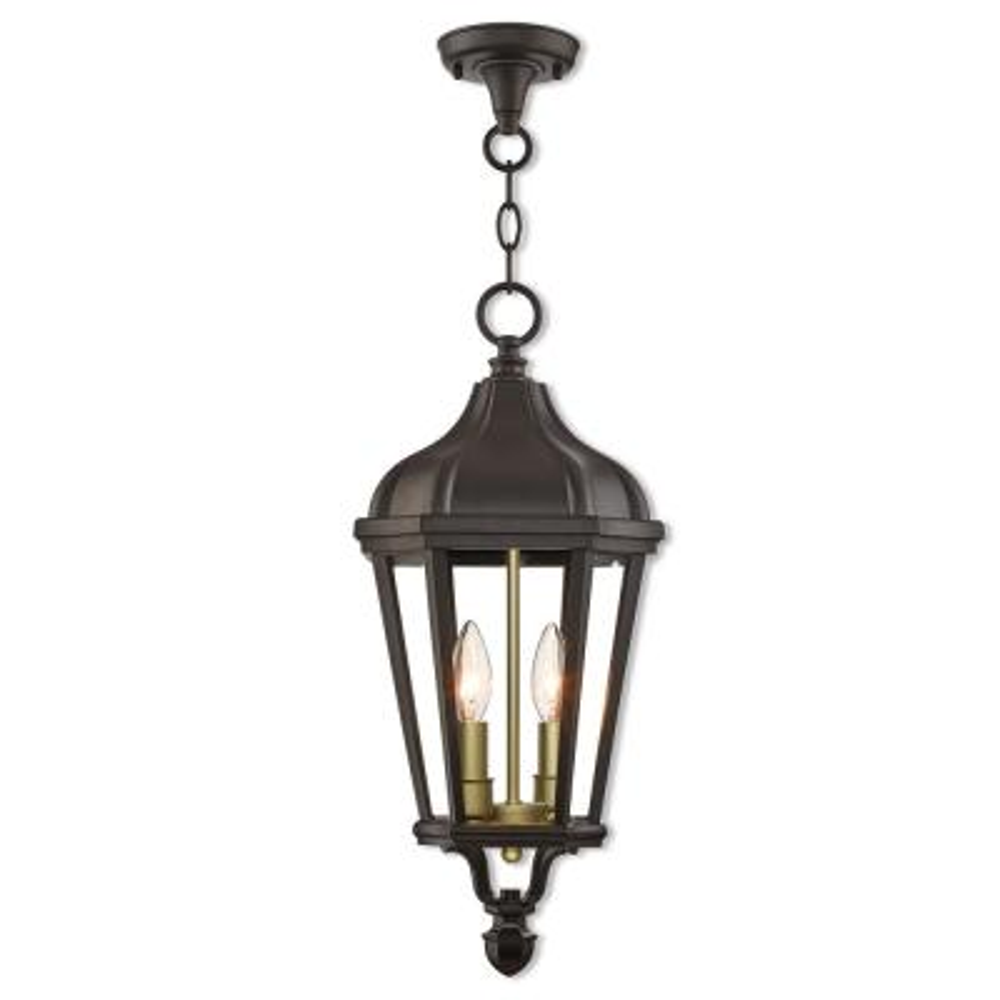 Morgan 2-Light Bronze Outdoor Pendant Lantern
