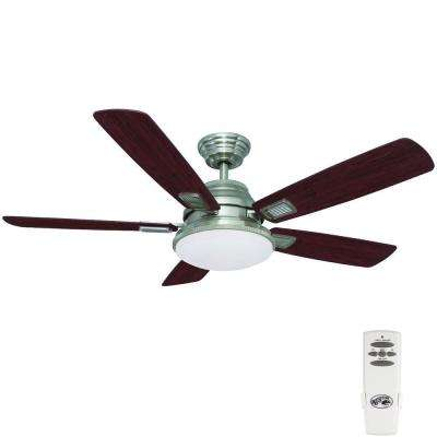 Latham 52 in. Indoor Brushed Nickel Ceiling Fan with Light Kit and Remote Control