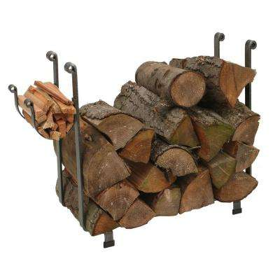 Large Rectangular Log Rack with Hammered Steel Finish