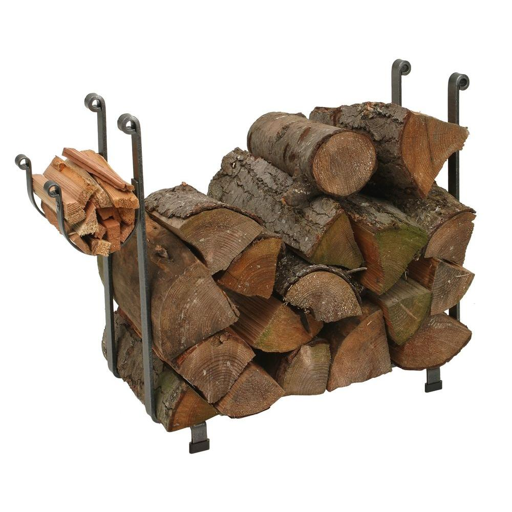 3 ft. Handcrafted Indoor/Outdoor Large Rectangle Firewood Rack Hammered Steel