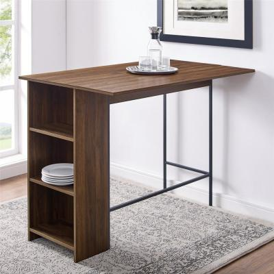 48 in. Dark Walnut Counter Height Drop Leaf Table with Storage