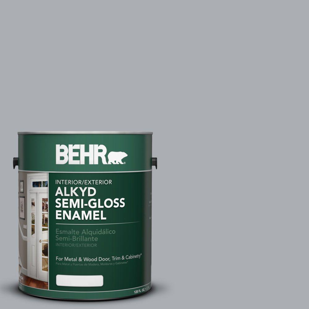 Behr 1 Gal Ae 50 Gray Cast Semi Gloss Enamel Alkyd Interior