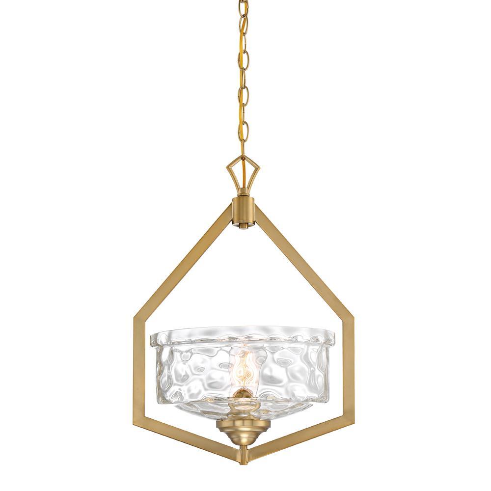 Drake 1-Light Brushed Gold Foyer Pendant
