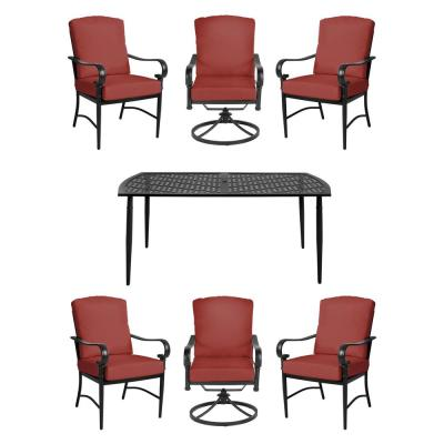 Oak Cliff Brown 7-Piece Steel Outdoor Patio Dining Set w/4 Stationary & 2 Swivel Chairs & Sunbrella Henna Red Cushions