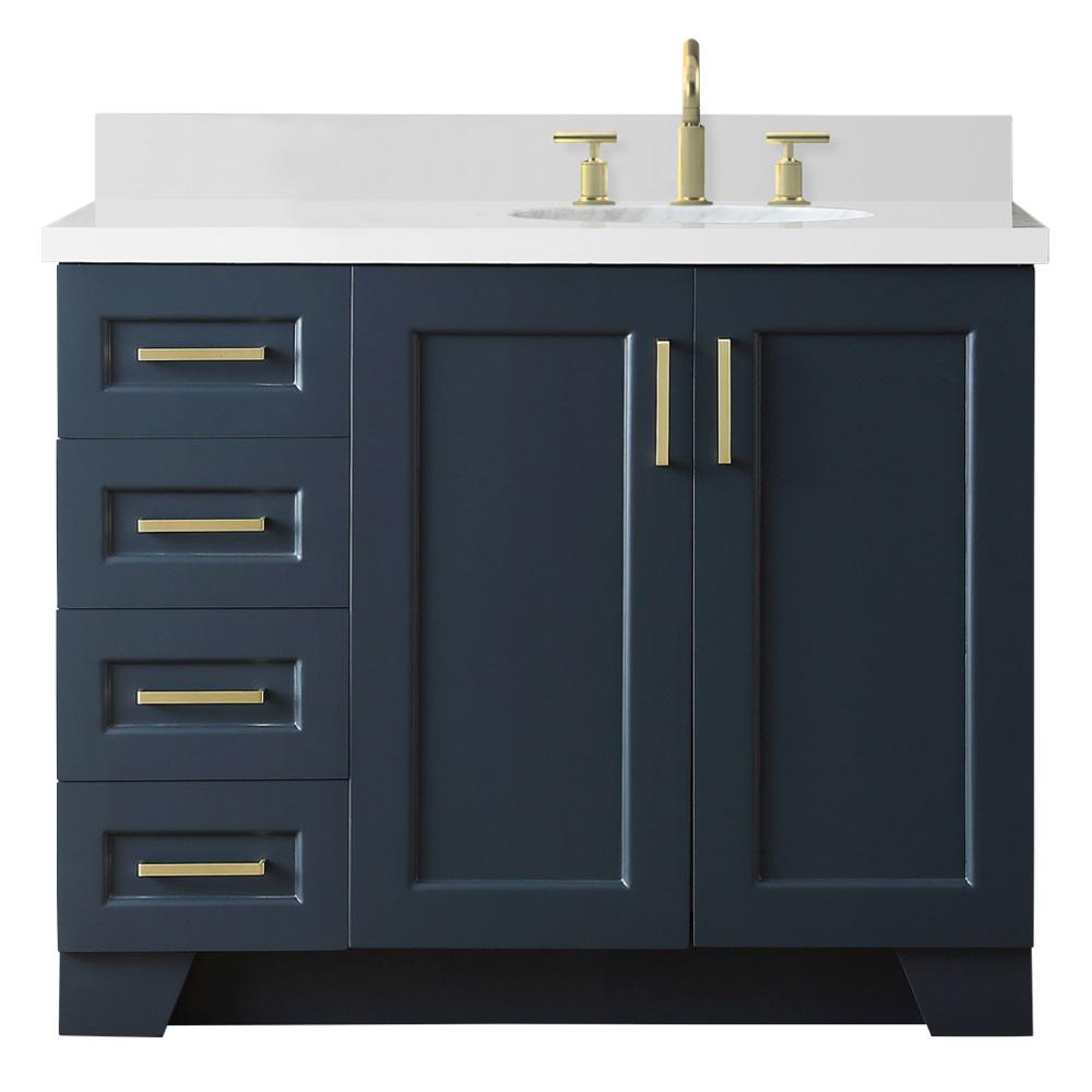 D Bath Vanity In Midnight Blue With Quartz Top White Right Offset Oval Basin