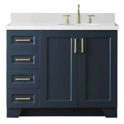 43 in. W x 22 in. D Bath Vanity in Midnight Blue with Quartz Vanity Top in White with Right Offset White Oval Basin