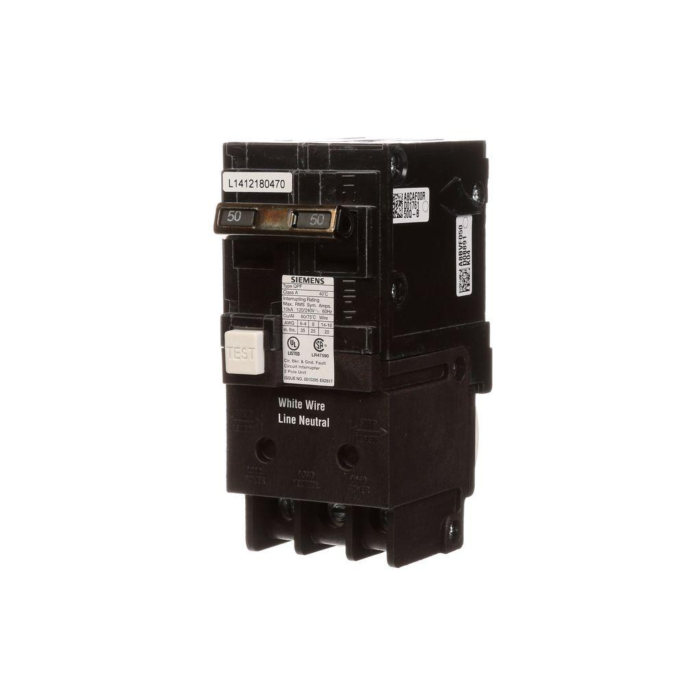 Siemens 50 Amp Double Pole Type Qpf Gfci Circuit Breaker