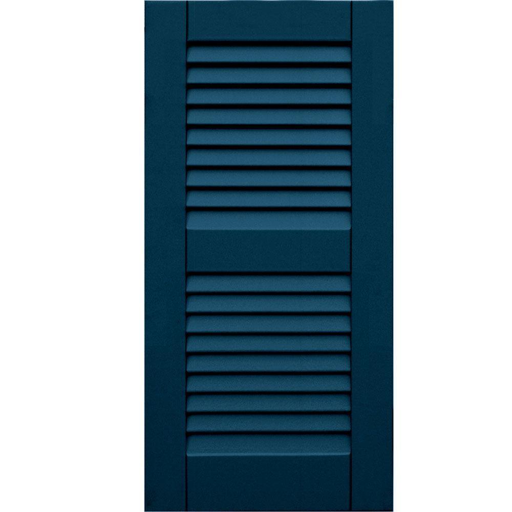 Winworks Wood Composite 15 in. x 31 in. Louvered Shutters Pair #637 Deep Sea Blue