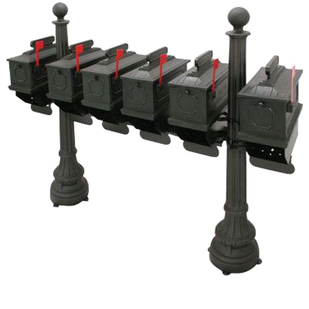 Postal Products Unlimited 1812 Morganton 6-Compartment Plastic Black Mailbox with Posts