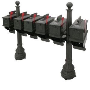Postal Products Unlimited 1812 Morganton 6-Compartment Plastic Black Mailbox with Posts by Postal Products Unlimited