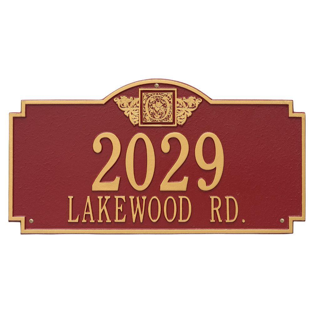 Whitehall Products Monogram Estate Rectangular Red/Gold Wall 2-Line Address Plaque