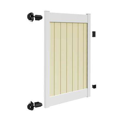 Roosevelt 4 ft. W x 6 ft. H 2-Toned (White Rails and Sand Infill) Vinyl Un-Assembled Fence Gate