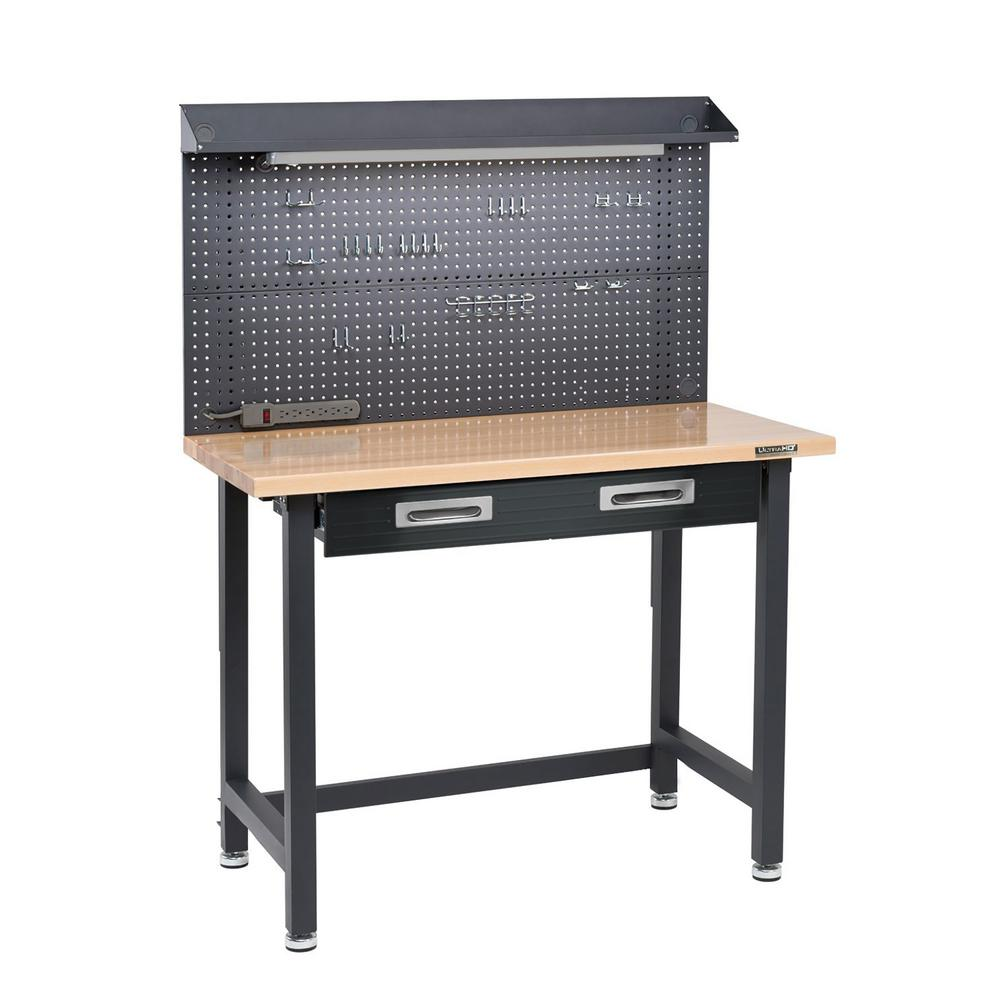 seville classics ultragraphite wood top workbench on wheels